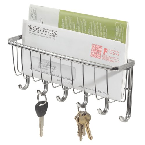 Interdesign Wall Mount Hanging Mail And Letter Bill Holder Key Hooks Rack Chrome Ebay