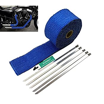SUNDELY® Blue Color Glassfiber Exhaust Pipe Header Heat Wrap Resistant Downpipe Tape Roll 2in X 16ft (5cm X 5m) + 5 Metal Ties