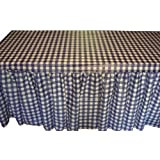 "Kwik-Cover KS3072PK-BW PKG. Blue Gingham Kwik-Skirt With 30"" X 72"" White Cover Fitted Table Cover With Skirt, (1 full case of 10)"