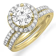 buy 14K Yellow Gold Round Moissanite & White Diamond Ladies Halo Bridal Engagement Ring Set (Size 6)