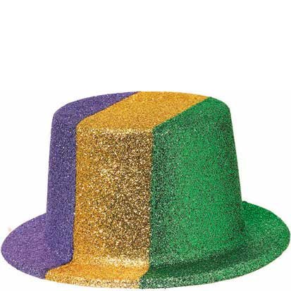 Mardi Gras Glitter Top Hat 7in