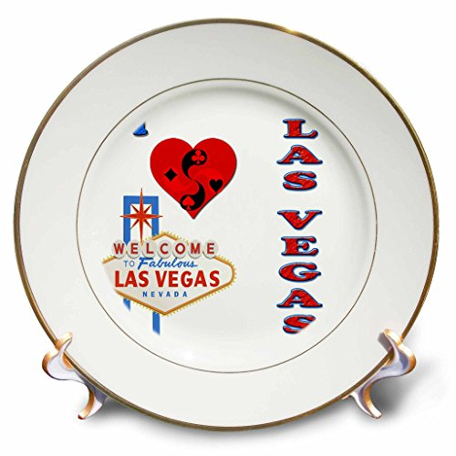 RinaPiro - Quotes - I love las vegas. Nevada. Playing cards. Casino. Popular saying. - 8 inch Porcelain Plate (cp_216454_1)