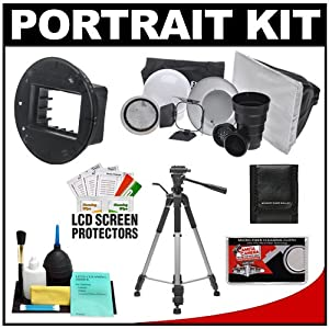 Interfit Strobies STR100 Portrait Kit with Beauty Dish Reflector, Globe Diffuser, Softbox, Barn Door, Snoot, Honeycomb Grid and SGM600 Flex Mount for Nikon SB-900 & Sigma EF-530 DG ST/Super Flashes + Tripod + Accessory Kit