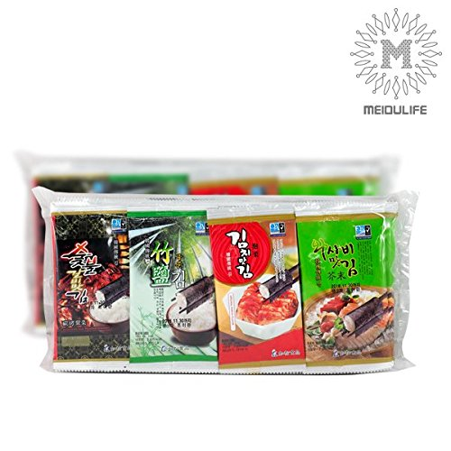 Seaweed Snack Nori Onigiri (Original Laver), Korea Gim Roasted & Seasoned, Taste Good Variety Pack(Wasabi, Bamboo Salt, Charcoal Barbecue, Kimchi) 120 Count (Roasted Seaweed Kimchi compare prices)