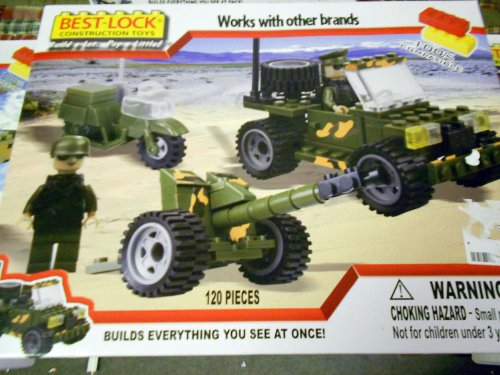 Best Lock Us Army Cannon and Jeep Licensed By the Us Army 120 Pieces