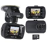Dash Cam Full HD Car Vehicle Dashboard Camera DVR Night Vision Cam with 16GB Micro SD Card Black