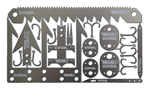 TITAN SurvivalCard | 22-in-1 Credit Card Sized Emergency Tool with Fishing Hooks, Arrow Heads, Snare Locks, Needles, Saws, and more...