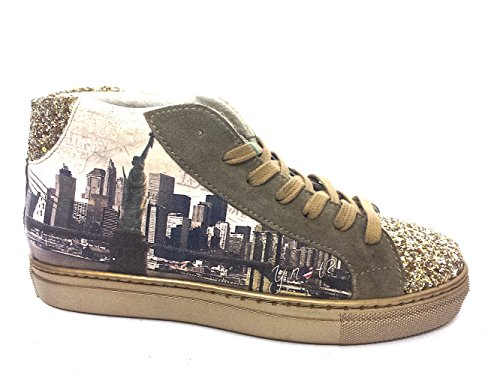 Scarpe donna Sneakers alte Y Not stampa New York-40