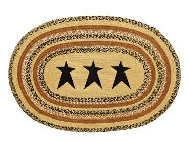 Kettle Grove Stencil Star Braided Jute Rug, Oval - 24x36
