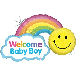 Welcome Baby Boy Smiley Rainbow 45 Mylar Foil Balloon