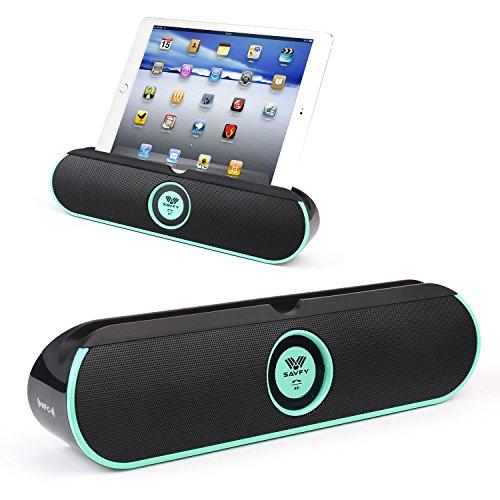 SAVFY Tragbarer Bluetooth 4.0 Lautsprecher Stereo Musik Box 2*5W Treiber Wireless Speaker mit NFC Verbindung und Ständer Halter 8 Stunden Spielzeit für iPad, iPhone, Samsung, Smartphones, Integrierte Mikrofon Mintblau Picture