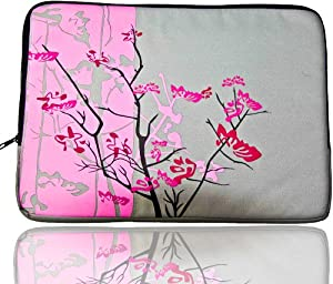 Sparse Floral Flowers Carrying Case Sleeve fit Apple 13-Inch MacBook and 13-Inch to 14-Inch Notebook/Laptop - Pink by FASH Limited