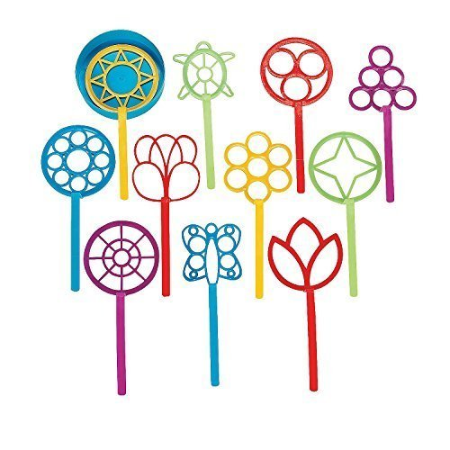 SUPER FUN BUBBLE WAND ASSORTMENT (1 DOZEN) - BULK by Fun Express