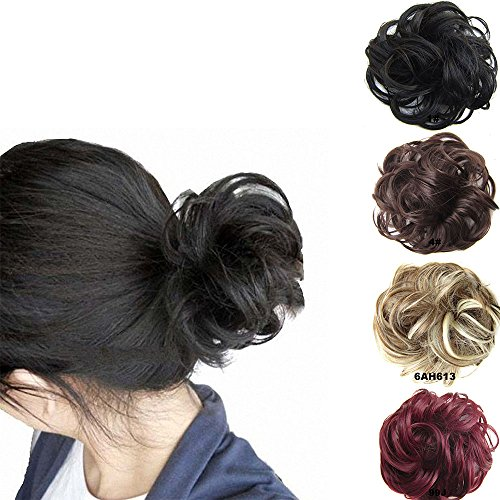 FESHFEN Scrunchy Scrunchie Bun Updo Hairpiece Hair Ribbon Ponytail Extensions Drawstring Hair Extension Dark Brown & Dark Auburn Mixed Scrunchie Hairpiece (Hair Ties Real Hair compare prices)