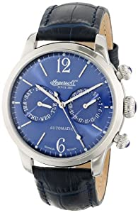 "Ingersoll Men's IN8009BL ""Outlaw"" Stainless Steel with Dark Blue Leather Band"