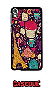 Caseque Paris - Eiffel Tower Sketch Art Back Shell Case Cover For Htc Desire 820