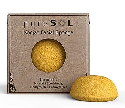 Konjac Sponge - Turmeric - Facial Sponge, 100% Natural Sponge, Eco-friendly - Gentle Exfoliating Sponge, Deep Cleansing, Improved Skin Texture - Konjac Facial Cleansing Sponge - Natural Beauty Products - Free of Chemicals, Parabens, Sulphates, fragrances