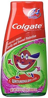 (2 Pack)-Colgate Kids 2 in 1 Toothpaste, Watermelon Flavor Liquid Gel, 4.6 oz (130 g) each