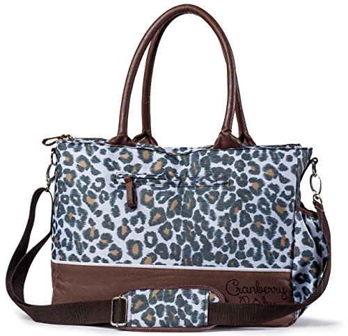 Diaper Bag in Chic Leopard Design by Cranberry Baby TM- LIFETIME WARRANTY