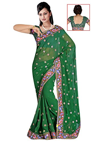 Sehgall Sarees Indian Bollywood Professional Green Embriodery Georgette