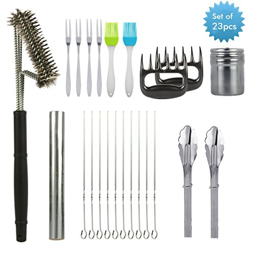 BBQ Grill Tools Set Barbecue Accessories Uvistar with 23 Pieces Include Brush Cleaner Baking Tinfoil Fork Locking Tongs Skewers Spice