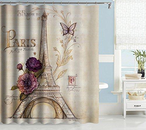 "Uphome Vintage Paris Themed Bluish Brown Eiffel Tower Bathroom Shower Curtain - Purple Flower Custom Polyester Fabric Bath Decorative Curtain (60""W x 72""H)"
