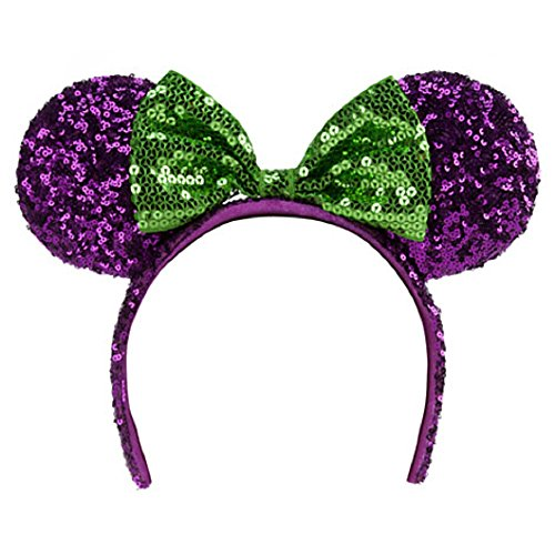 Disney Theme Parks Minnie Mouse Sequin Headband Purple Green Mouse Ears Halloween