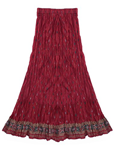 Anu Printed Crinkled/Crushed Broom Skirt: Deep Pink: 4X (48in Broom compare prices)