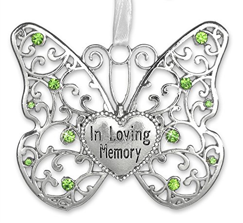 In Loving Memory Ornament - Rememberance Silver Filigree Butterfly with Engraved Heart Charm - Light Green Crystals with White Ribbon to Hang - Bereavement Gifts - Sympathy Gifts (Crystal Butterfly Ornament compare prices)