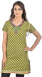 Padmini Negotium Women's Cotton Regular Fit Kurti (PNK0095, Green, 37)