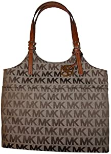 Women's Michael Kors Purse Handbag Pocket Tote Jacquard Beige/Ebony/Luggage