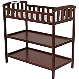 Dream on Me - Emily Changing Table - Cherry - Nursery Room - Nursery Furniture - Traditional Design in a Solid Pine Wood Construction - 2 Shelves - Non-toxic Finish