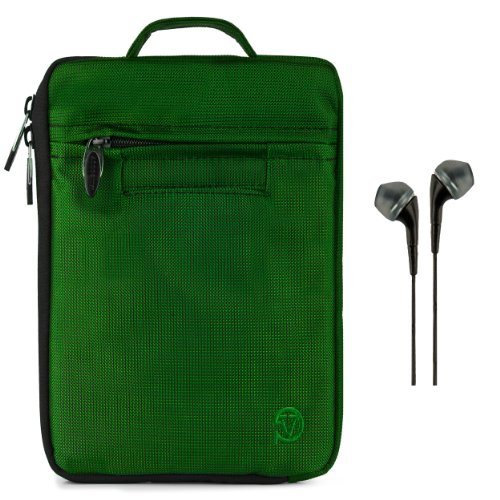 Vangoddy Hydei Sleeve - Forest Green Modern Padded Bag Pack Cover Case For Samsung Galaxy Tab S 8.4' Android + Black Hands-Free Earphones Headphones W/ Microphone