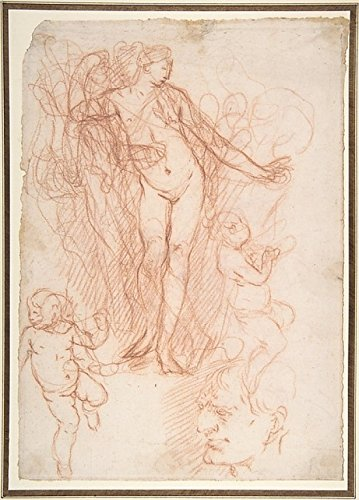 """(R.)Figure Studies: Standing Nude Figure, Putti, and a Mans Head (V.) Figure Studies: A Flying and a Standing Man Poster Print by Giulio Carpioni (Italian, Venice 1613â€""""1678 Venice) (18 x 24)"""