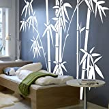 Vinyl Bamboo Wall Decal bamboo Wall Quote Tree Wall Sticker Wall Grpahic Home Art Decor 3(bamboos:White;bamboo leaves:White)