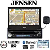 Jensen VX7012 7'' in-dash Single Din DVD navigation w/ built-in Bluetooth and SiriusXM Tuner and Antenna with a FREE SOTS air freshener