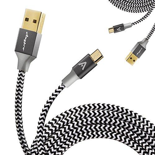 エニープロ (Anypro)USBケーブル 2本セット 急速充電【ナイロンm...