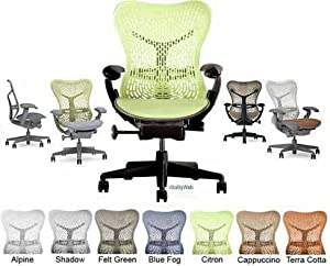 Mirra Chair Herman Miller Deluxe Fully Highly Adjustable Home Office Desk Task Chair MR223 with Forward Tilt Seat Angle, Adjustable Arms, Flexfront Seat, Graphite Frame with Citron Airweave Seat and Triflex Backrest, Standard Casters