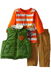 Nannette Baby Boys' 3 Piece Animal Biker Vest with Shirt and Pant