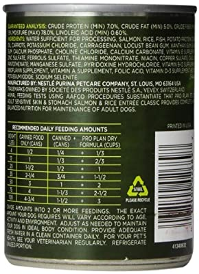 Purina Pro Plan Wet Dog Food, Focus, Adult Sensitive Skin & Stomach Salmon & Rice Entrée, 13-Ounce Can, Pack of 12