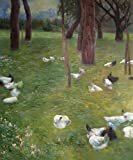 Decorative Room (Unframe And Unstretch) 100% Hand-Painted Oil Painting On Canvas,Klimt - After the rain, Garden with Chickens in St. Agatha,20X24 inch canvas