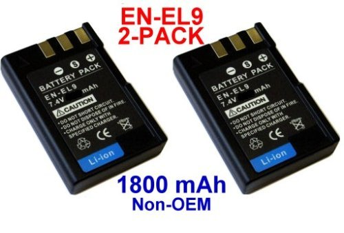 Nextop-2 Packs Nikon EN-EL9 Brand New 1800mAh COMPATIBLE Battery for Nikon D40, D40x, D60