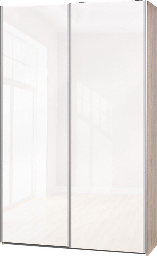 """Schwebetürenschrank """"Soft Plus Smart Typ 40"""", 120 x 194 x 42cm, Eiche/2 x Weiß hochglanz"""