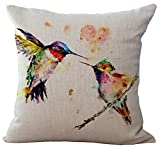 ChezMax Linen Blend Ink Painting Birds Pattern Cushion Cover Cotton Pillowslip Square Decorative Throw Pillow Case 18 X 18
