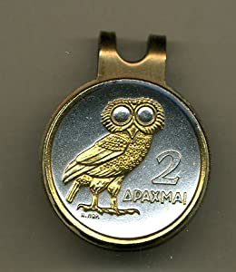 Gorgeous 2-Toned Gold on Silver Greek Owl - Coin - Golf Ball Marker - Hat Clips by J&J Coin Jewelry