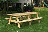 8 Ft Pressure Treated Pine Unfinished Picnic Table with Attached Benches