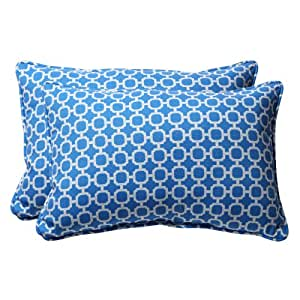 Blue Rectangle Throw Pillow : Amazon.com - Pillow Perfect Decorative Blue/White Geometric Rectangle Toss Pillow, 2-Pack ...