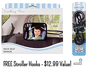 60% OFF SALE FOR A LIMITED TIME! - Baby Back Seat Mirror - FREE Stroller Hooks - Baby Car Mirror for Rear Facing Car Seat