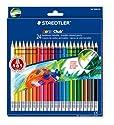 STAEDTLER - Crayons de couleur NORIS CLUB gommables, étui carton de 24, avec couche de protection de la mine (ABS), hexagonal, avec gomme, diamètre mine: 3 mm, (1