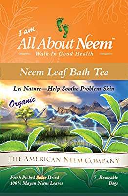 Neem Leaf TubTea Bags Helps Repel Mosquitoes Nature's Way! (7 Large Refillable Bags) Plus 7 FREE Travel Size Neem Oil Soap - Kids Love Bath Tub Time! Made in USA Naturally Repels insects & mosquitoes
